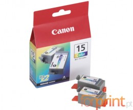 2 Original Ink Cartridges, Canon BCI-15 Color 7.5ml