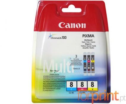 3 Original Ink Cartridges, Canon CLI-8 Color 13ml
