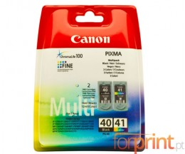 2 Original Ink Cartridges, Canon PG-40 / CL-41 Black 16ml + Color 12ml