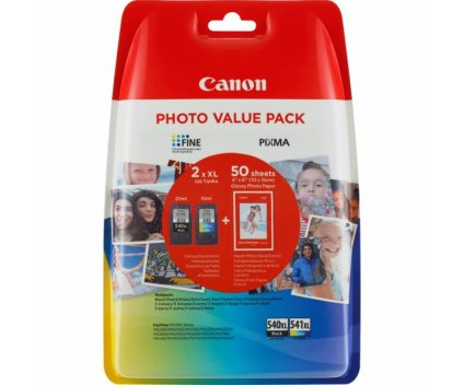 2 Original Ink Cartridges, Canon PG-540 XL / CL-541 XL Black 21ml + Color 15ml + 50 sheets 10x15cm