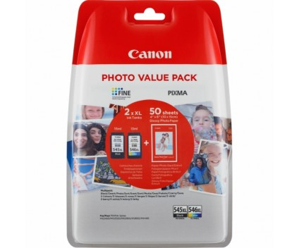 2 Original Ink Cartridges, Canon PG-545 XL / CL-546 XL Black 15ml + Color 13ml + 50 Sheets 10x15cm