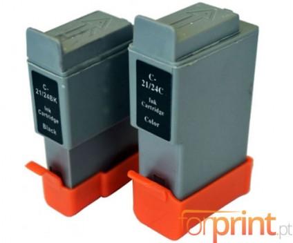2 Compatible Ink Cartridges, Canon BCI-21 / BCI-24 Black 9.2ml + Color 12.6ml