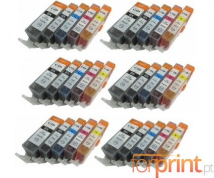 30 Compatible Ink Cartridges, Canon PGI-525 / CLI-526 Black 19.4ml + Color 9ml