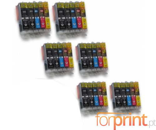 30 Compatible Ink Cartridges, Canon PGI-550 XL / CLI-551 Black 22ml + Color 13ml