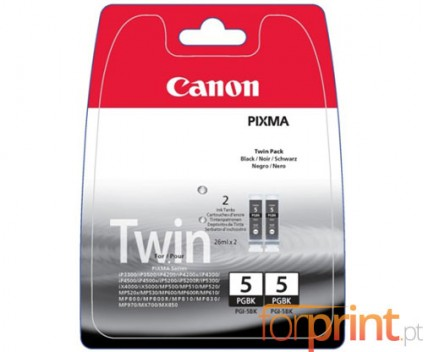 2 Original Ink Cartridges, Canon PGI-5BK Black 26ml