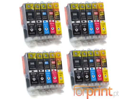20 Compatible Ink Cartridges, Canon PGI-550 XL / CLI-551 Black 22ml + Color 13ml