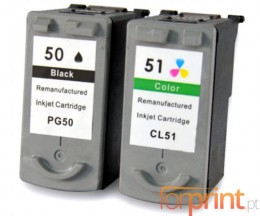 2 Compatible Ink Cartridges, Canon PG-37 / PG-40 / PG-50 Black 22ml + CL-38 / CL-41 / CL-51 Color 21ml