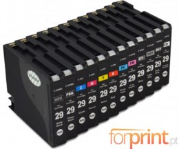 12 Compatible Ink Cartridges, Canon PGI-29 Black 36ml + Color 36ml