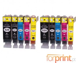10 Compatible Ink Cartridges, Canon PGI-520 Black 19.4ml + CLI-521 Colores 9ml