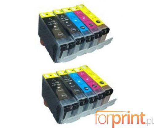 10 Compatible Ink Cartridges, Canon PGI-5 / CLI-8 Black 26.8ml + Color 13.4ml