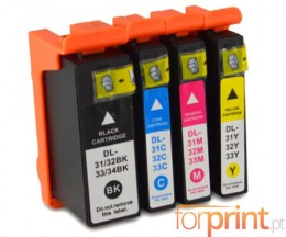 4 Compatible Ink Cartridges, DELL 31 / 32 / 33 / 34 Black + Color 28ml / 15ml