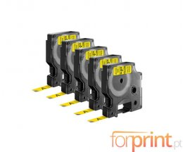 5 Compatible Tapes, DYMO 40918 Yellow 9mm x 7m