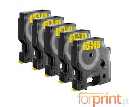 5 Compatible Tapes, DYMO 45808 Yellow 19mm x 7m