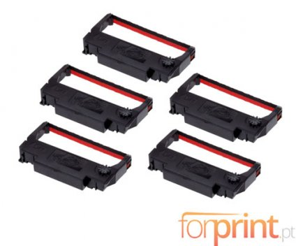 5 Compatible Tapes, Epson ERC-38BK / R Black / Red