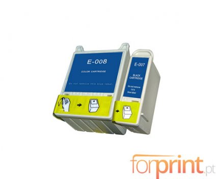 2 Compatible Ink Cartridges, Epson T007 Black 16ml + T008 Color 43ml