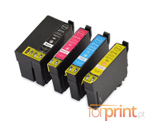 4 Compatible Ink Cartridges, Epson T2701-T2704 / T2711-T2714 Black 22.4ml + Color 15ml