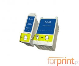 2 Compatible Ink Cartridges, Epson T007 Black 16ml + T009 Color 62ml