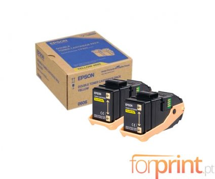 2 Original Toners, Epson S050606 Yellow ~ 7.500 Pages