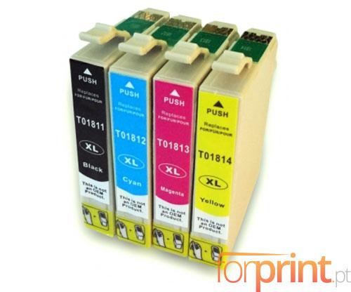4 Compatible Ink Cartridges, Epson T1811-T1814 Black 17ml + Color 13ml