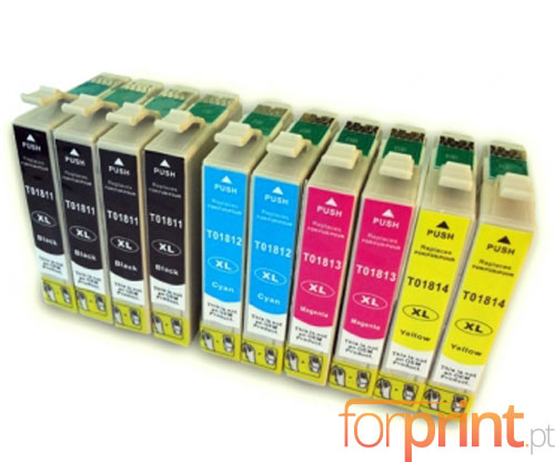 10 Compatible Ink Cartridges, Epson T1811-T1814 Black 17ml + Color 13ml