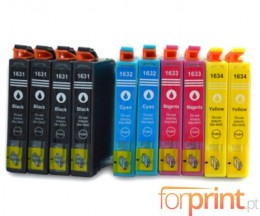 10 Compatible Ink Cartridges, Epson T1631-T1634 Black 17ml + Color 11.6ml