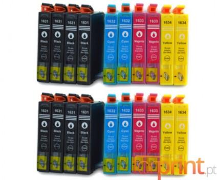 20 Compatible Ink Cartridges, Epson T1631-T1634 Black 17ml + Color 11.6ml