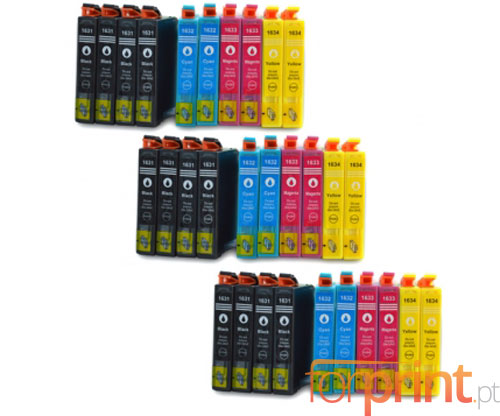 30 Compatible Ink Cartridges, Epson T1631-T1634 / 16 XL Black 17ml + Color 11.6ml