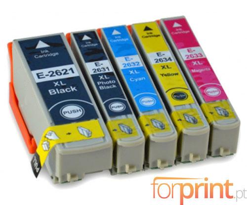 5 Compatible Ink Cartridges, Epson T2621 Black 26ml + T2631-T2634 Color 13ml