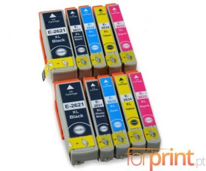 10 Compatible Ink Cartridges, Epson T2621 Black 26ml + T2631-T2634 Color 13ml