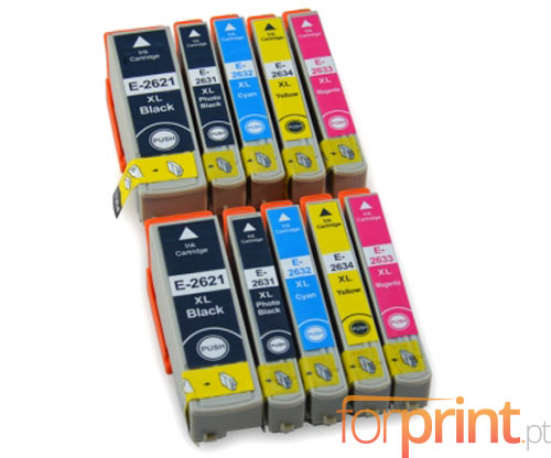 10 Compatible Ink Cartridges, Epson T2621 Black 26ml + T2631-T2634 Color 13ml