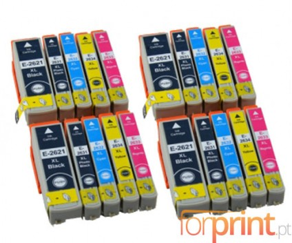20 Compatible Ink Cartridges, Epson T2621 Black 26ml + T2631-T2634 Color 13ml