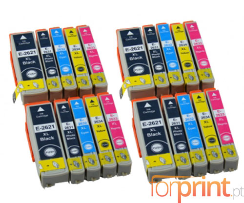 20 Compatible Ink Cartridges, Epson T2621 Black 26ml + T2631-T2634 Color 13ml