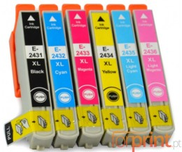 6 Compatible Ink Cartridges, Epson T2431-T2436 / 24XL Black 13ml + Color 13ml