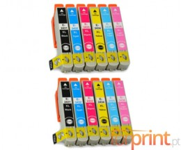 12 Compatible Ink Cartridges, Epson T2431-T2436 Black 13ml + Color 13ml
