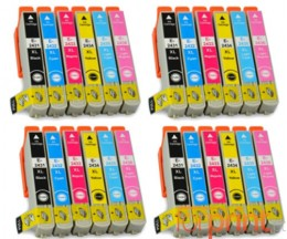 24 Compatible Ink Cartridges, Epson T2431-T2436 / 24 XL Black 13ml + Color 13ml