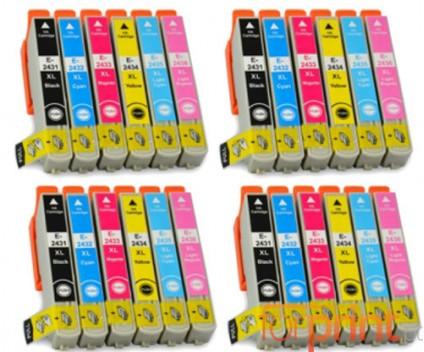24 Compatible Ink Cartridges, Epson T2431-T2436 Black 13ml + Color 13ml