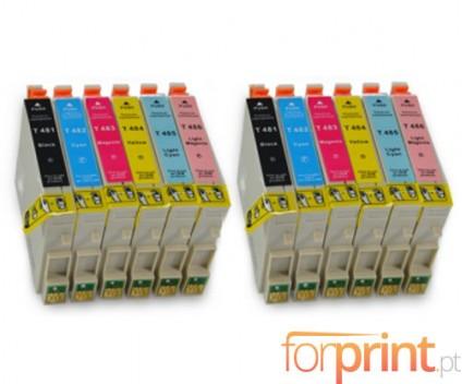 12 Compatible Ink Cartridges, Epson T0481-T0486 Black 18ml + Color 18ml