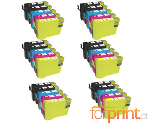 30 Compatible Ink Cartridges, Epson T1281-T1284 Black 13ml + Color 6.6ml