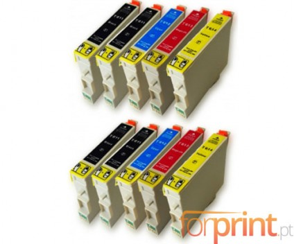 10 Compatible Ink Cartridges, Epson T0611-T0614 Black 17ml + Color 15ml