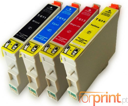 4 Compatible Ink Cartridges, Epson T0611-T0614 Black 17ml + Color 15ml