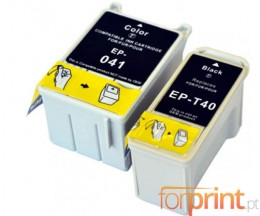 2 Compatible Ink Cartridges, Epson  T041 Color 37.2ml + T040 Black 17.8ml