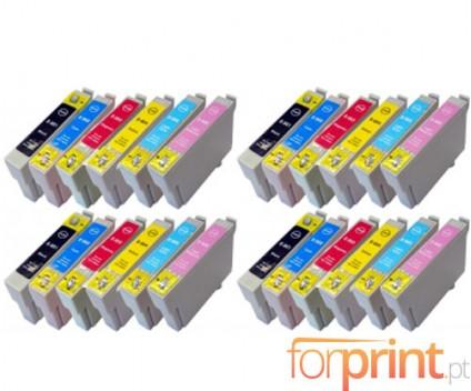 24 Compatible Ink Cartridges, Epson T0801-T0806 Black 13ml + Color 13ml