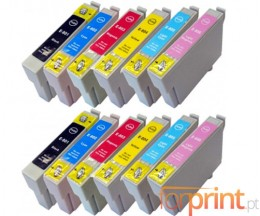 12 Compatible Ink Cartridges, Epson T0801-T0806 Black 13ml + Color 13ml