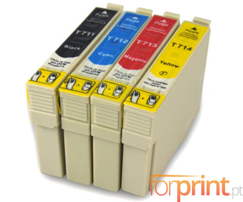 4 Compatible Ink Cartridges, Epson T0711-T0714 Black 13ml + Color 13ml