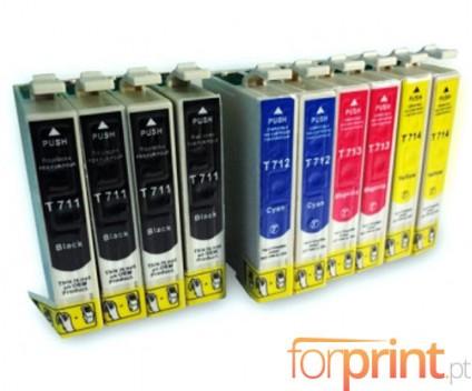 10 Compatible Ink Cartridges, Epson T0711-T0714 Black 13ml + Color 13ml