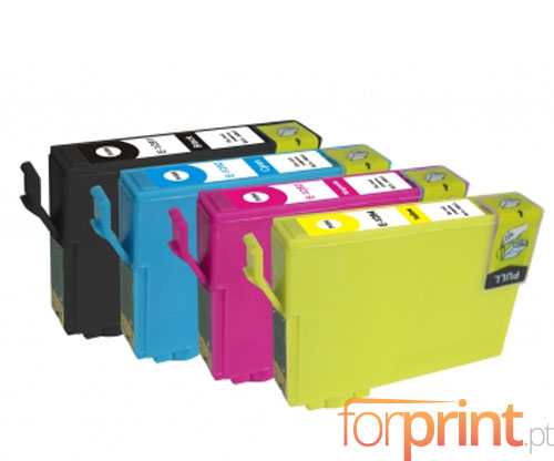 4 Compatible Ink Cartridges, Epson T1291-T1294 Black 15ml + Color 13ml