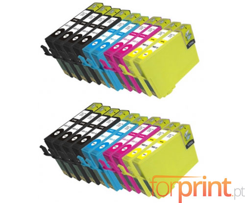 20 Compatible Ink Cartridges, Epson T1291-T1294 Black 15ml + Color 13ml