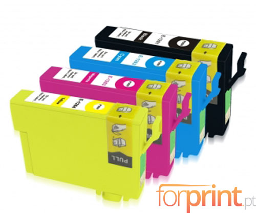 4 Compatible Ink Cartridges, Epson T1281-T1284 Black 13ml + Color 6.6ml