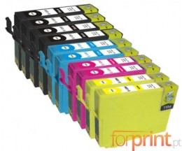 10 Compatible Ink Cartridges, Epson T1281-T1284 Black 13ml + Color 6.6ml