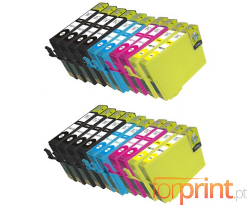 20 Compatible Ink Cartridges, Epson T1281-T1284 Black 13ml + Color 6.6ml